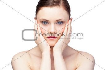 Pensive gorgeous brunette posing