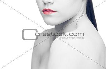 Shoulders of sensual brunette posing