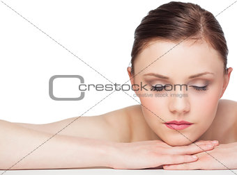 Sleepy natural brunette posing