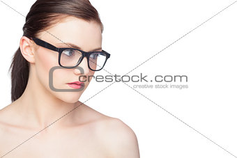 Relaxed natural model wearing classy glasses