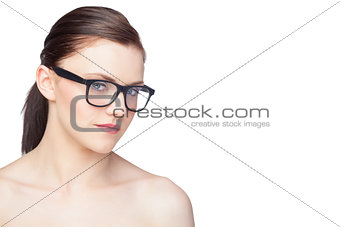 Content natural model wearing classy glasses