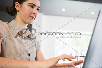 Close up view of businesswoman working on her laptop