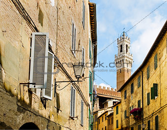 Antique street of Sinea with Mangia tower in background. Siena, Italy