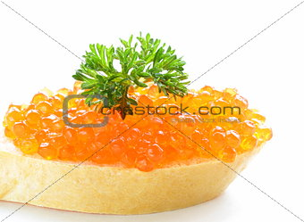 delicacy appetizer red caviar on a white baguette