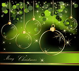 Merry Christmas  background gold and green