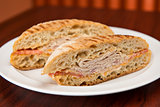 Turkey sandwich on ciabatta bread