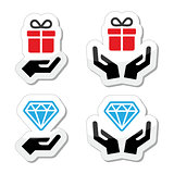 Hands with present and diamond icons set