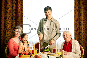 Together at festive table
