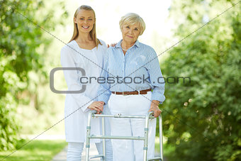 Carer and senior female