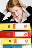 portrait of businesswoman with folders