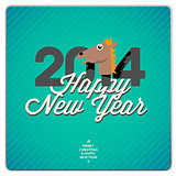 New Year card 2014 year of the blue horse, vector Eps10 illustration.