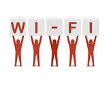Men holding the word wi-fi.