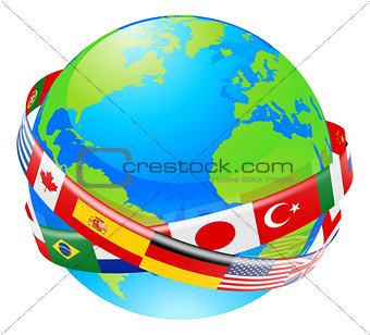 A earth globe with flags of countries