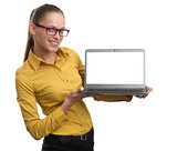 woman showing a blank laptop screen