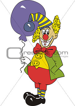 Funny clown with air balloon