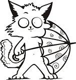 funny kitty holding umbrella