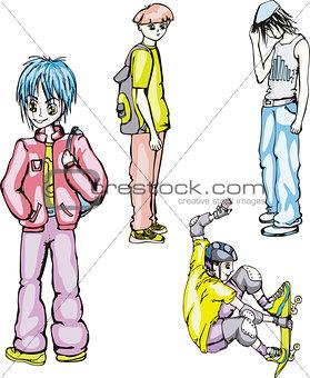 Four teenager boys