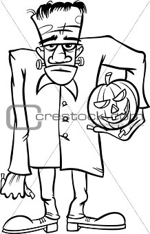 frankenstein cartoon for coloring book