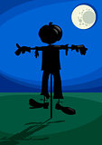 scarecrow at night cartoon illustration