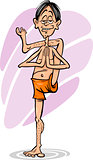 man in yoga position cartoon illustration