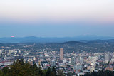 Full Moon Rise Over Portland Cityscape
