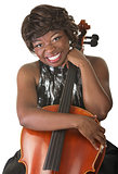Happy Lady Holds a Cello