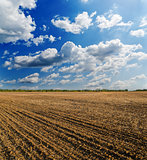 ploughed field under deep blue sky with clouds