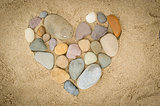 Pebbles arranged in a heart shape
