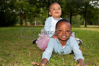 African children on the grass