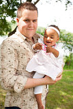 Caucasian father and his african girl