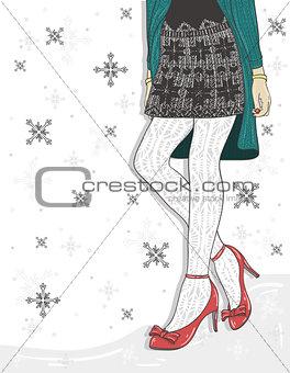 Cute winter fashion background.
