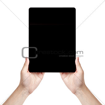 adult man hand holding generic tablet vertical