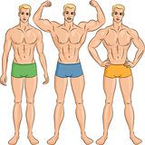 vector set of young athletic guys in shorts