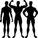 vector set athletic man silhouette in different poses