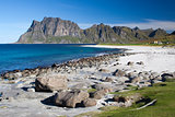 Utakleiv Beach on the Lofoten Islands, Norway, Scandinavia
