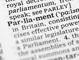 Macro image of dictionary definition of parliament