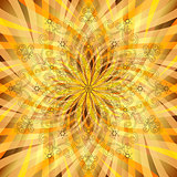 Vintage orange-gold pattern with translucent rays