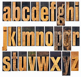 lowercase alphabet in wood type