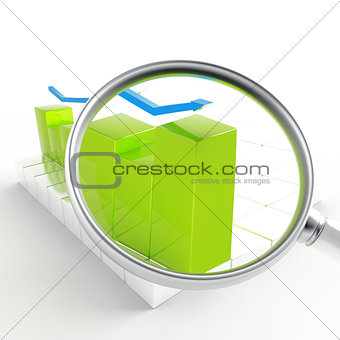 green and blue charts under magnification