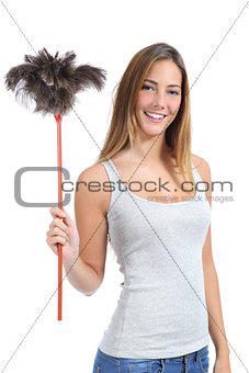 Beautiful woman holding a duster clean