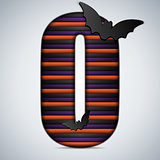 Halloween Bat Alphabet Letters Stripe Black Orange Purple