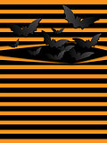 Vector Halloween Background Scary Bats Orange