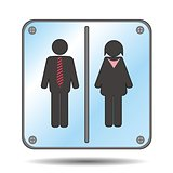 restroom sign with man and woman