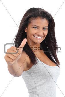 Beautiful colombian teenager girl gesturing thumb up
