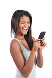 Beautiful woman happy with her smart phone