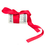 roll of dollars with red bow