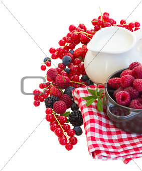 fresh berries with milk