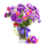 bouquet of violet and pink  aster flowers