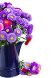bouquet of  aster flowers in blue pot