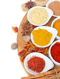 colorful plates of  spices